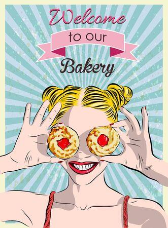 Un signe dans une boulangerie et une fille avec des biscuits. Vector illustrstion