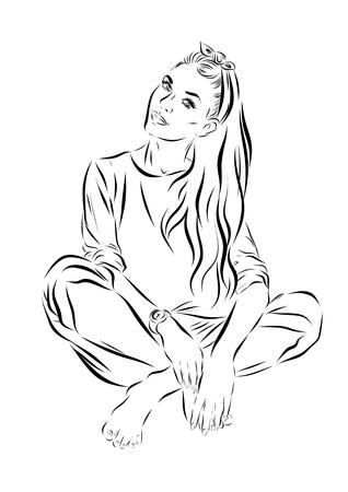 ben day dot: Pop Art Woman - on a polka-dots background. Vector illustration. Monochrome