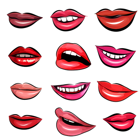 woman smile: Set of 12 Pop Art Lips on a white background. Vector illustration