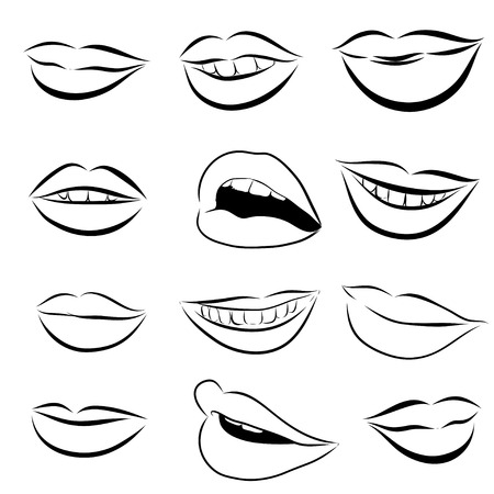 sexy tongue: Set of 12 Pop Art Lips on a white background. Vector illustration