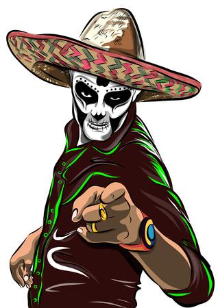 죽은 설탕 두개골 남자 벡터의 하루입니다. 멕시코 두개골. 죽은 해골의 날. Dia de los muertos 두개골 그림입니다. 벡터 일러스트 레이 션.