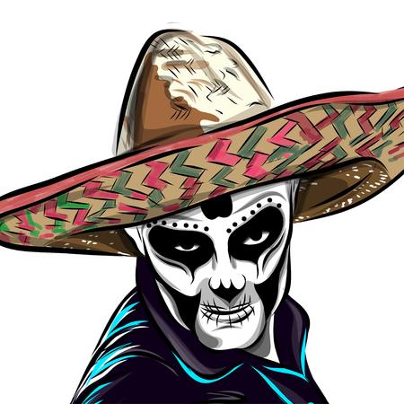 Día del vector del hombre del cráneo muerto del azúcar. Cráneo mexicano. Día del cráneo muerto. Dia de los muertos cráneo ilustración. ilustración vectorial. Ilustración de vector