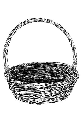 basket: Hand drawn picnic basket isolated on white background. Sketch illustration of empty bamboo basket. Vector EPS