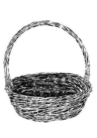 empty basket: Hand drawn picnic basket isolated on white background. Sketch illustration of empty bamboo basket. Vector EPS