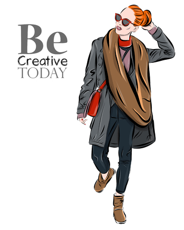 The girl in a scarf on a background. Vector illustration