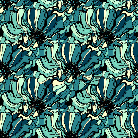 Colorful hand drawn poppies, flowers seamless pattern. Vector illustration