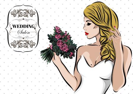 newlywed: Wedding couple kiss. Newlywed Vector sketch EPS.