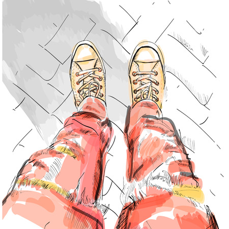red jeans: Legs with red jeans in gumshoes. Vector illustration. EPS