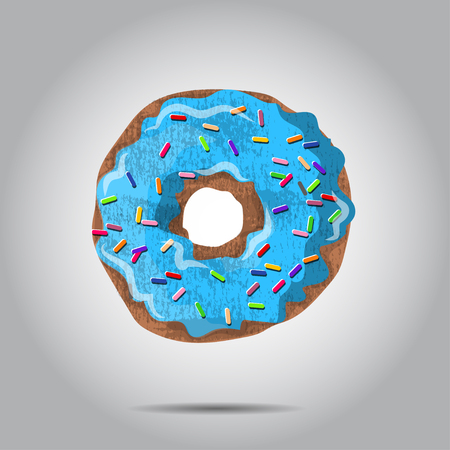 illustratio: Sweet donut illustratio with blue glaze and many decorative sprinkles. Can be used as card or t-shirt print or for label, menu.