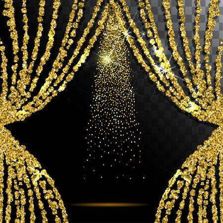 Gold glitter curtain with the light transparent background. Illustration