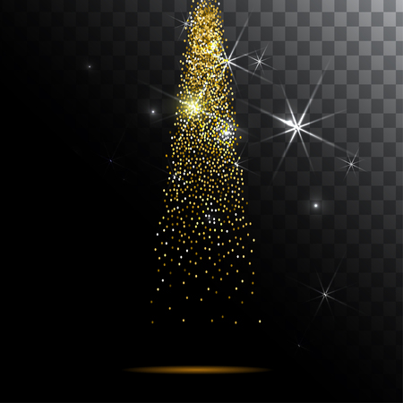 Abstract light background. Magic light with gold glitter burst.