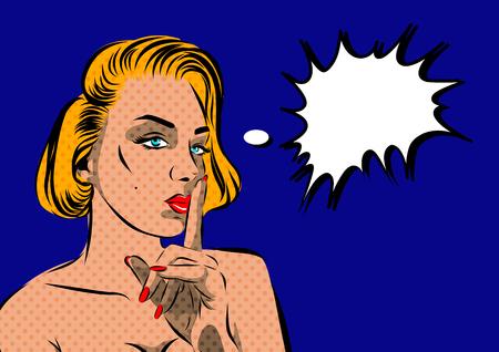 ben day dot: Pop Art Woman - on a polka-dots background. Vector illustration. Illustration