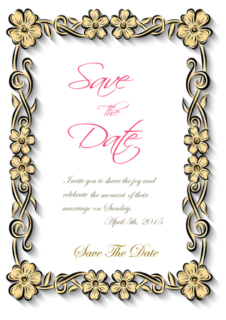 edwardian: Vector floral frame Silhouette for invitation and photo.