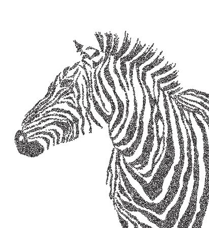 polkadot: Animal watercolor illustration silhouette cute zebra polka-dot. illustration Illustration
