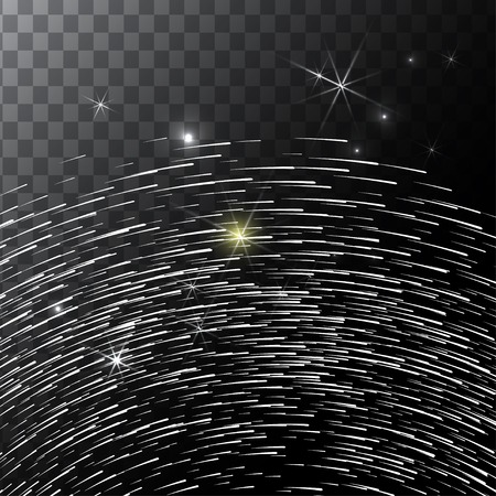 star trail: Abstract Bright Falling Star - Shooting Star with Twinkling Star Trail on transparent Background - Meteoroid, Comet, Asteroid - Backdrop Vector Illustration Illustration