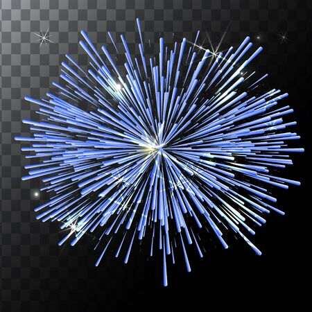 Vector isolated colorful fireworks on a transparent background.