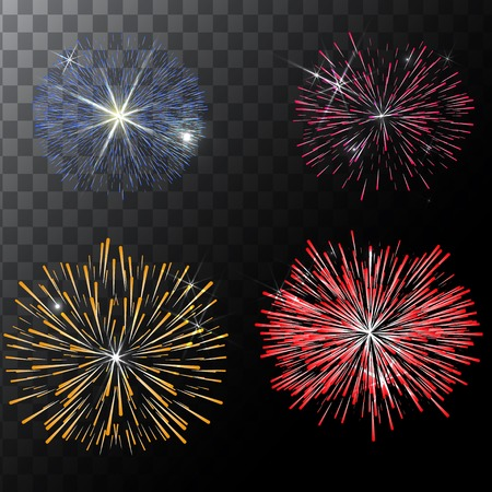 fourth birthday: Set of isolated vector fireworks on a transparent background. Illustration