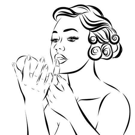 ben day dot: Pop Art Woman - on a white background. Vector illustration.
