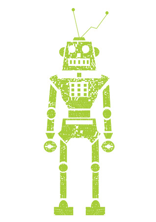 quick drawing: Vector green grunge robot doodle on a white background. EPS Illustration