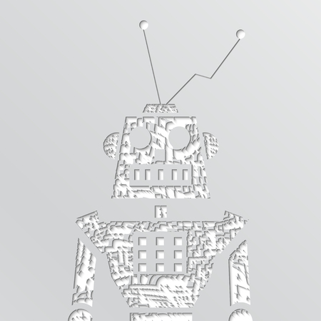 quick drawing: Vector grunge robot doodle on a white background.
