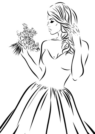 scetch: Wedding scetch. Bride on a white background. Vector illustration Illustration