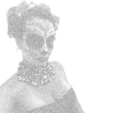 dia de los muertos: Beautiful and elegant muertos or Sugar Skull Lady with abstract lines for Day of the Dead or Dia de los Muertos.