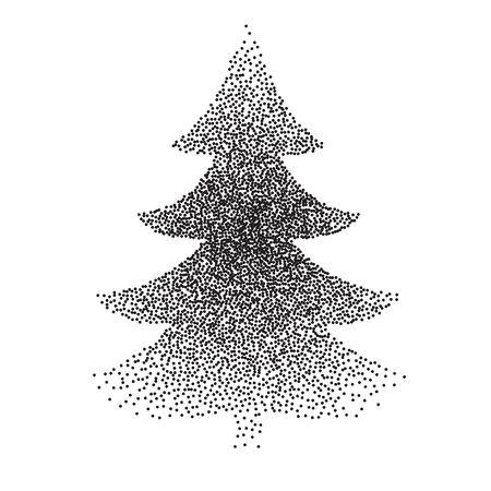 polkadot: vector of abstract polka-dot stipple Christmas trees. Illustration