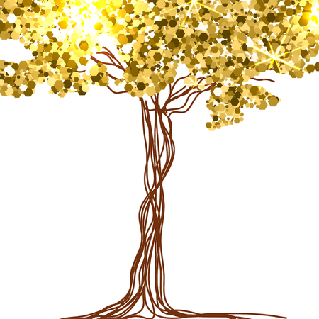 fairy tree: beautiful paper, decorated with fairy tree and gold glitter.