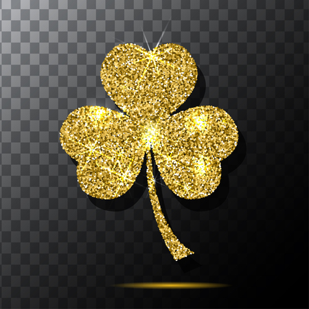 gold leaf: Glitter object. Clover for patrick s day design. Isolated glitter clover. Gold texture background. Vector. Traditional irish clover.