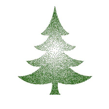 polkadot: vector of abstract polka-dot green stipple Christmas tree.