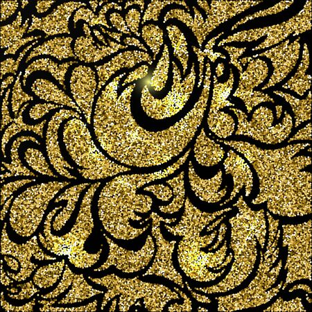 glam: Gold glitter sparkling pattern. Decorative background. Shiny glam abstract texture