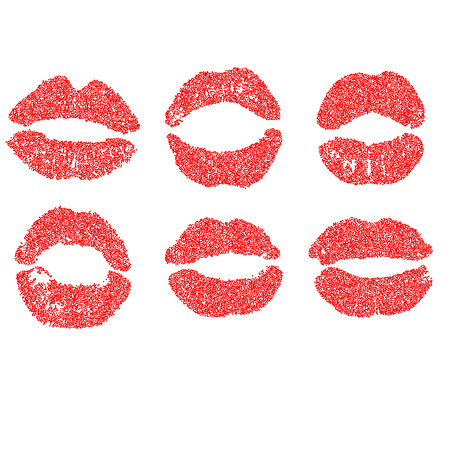 red lipstick: Womans lip dotted set. Girl mouths close up with red lipstick makeup.