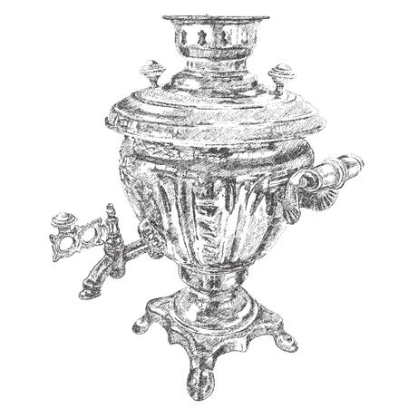 samovar: Russian samovar. vector hand drawn dotted graphic illustration Illustration