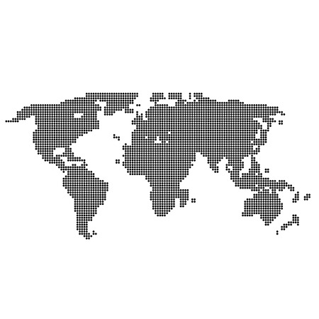 continents: Vector halftone world map. Continents for your design.