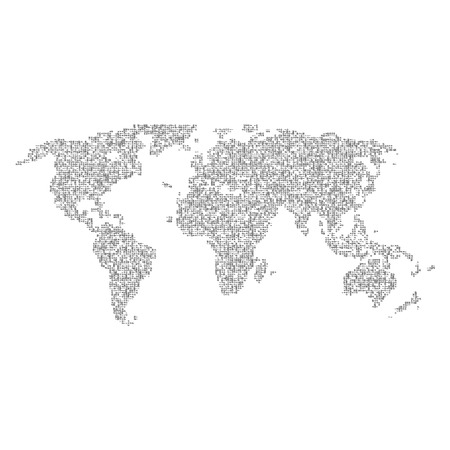 halftones: Vector halftone letters world map. Continents for your design.