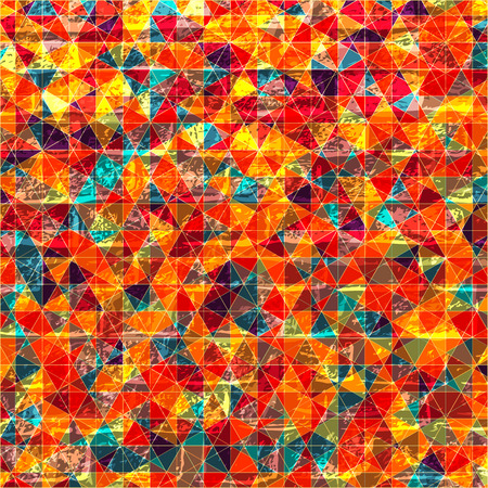 Vector geometric pattern with rhombus shapes and grunge texture. Illustration