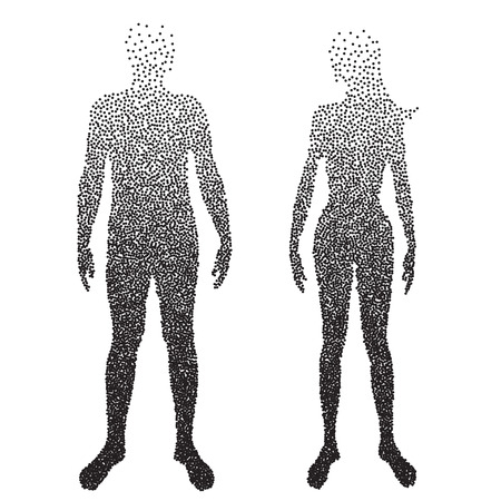 unclothed: Half body , Male and female Anatomy, designed using square dot, graphic vector. Illustration