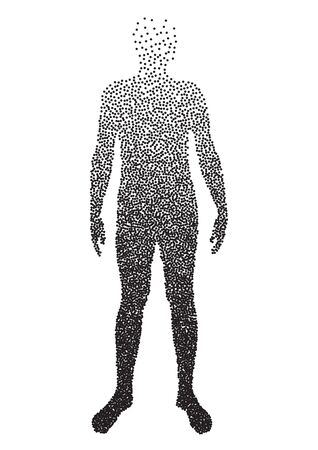 unclothed: Half body , Male Anatomy, designed using square dot, graphic vector.