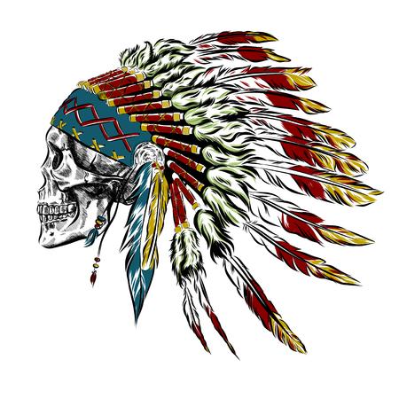 인간의 두개골 손으로 그려진 된 아메리카 원주민 인디언 깃털 머리 장식. 벡터 일러스트 EPS