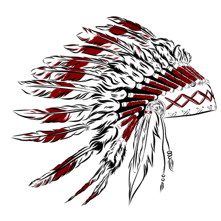 indian headdress: Native American indian headdress with feathers in a sketch style. multicolored card for Thanksgiving day. Vector illustration.