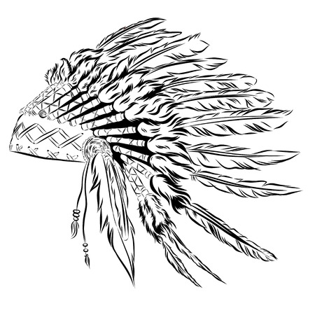 Native American indian headdress with feathers in a sketch style. multicolored card for Thanksgiving day. Vector illustration.