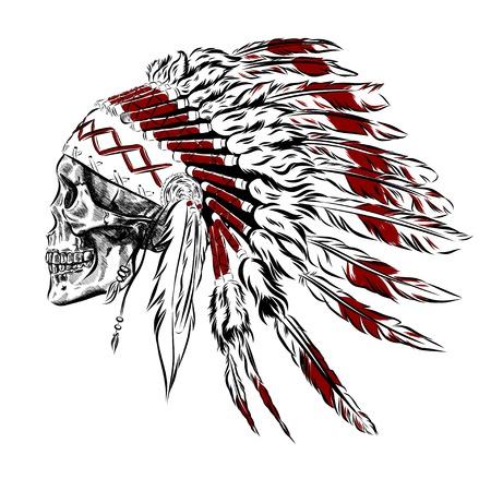 Hand Getrokken Native American Indian veren hoofdtooi met menselijke schedel. vector Illustration Stock Illustratie