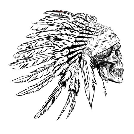 indian feather: Hand Drawn Native American Indian Feather Headdress With Human Skull. Vector Illustration