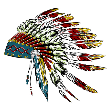 color tribal tattoo: Native American indian headdress with feathers in a sketch style. multicolored card for Thanksgiving day. Vector illustration.