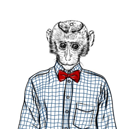Macaque monkey hipster in a shirt , poster hand drawn illustration vector. Illustration