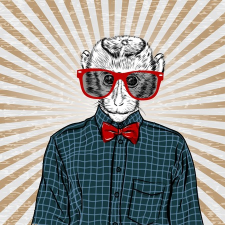 macaque: Macaque monkey hipster in a shirt , poster hand drawn illustration vector. EPS