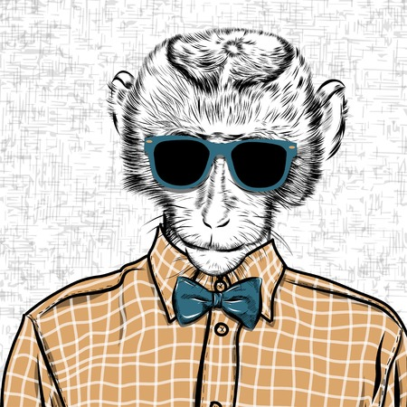 Macaque monkey hipster in a shirt , poster hand drawn illustration vector. 向量圖像