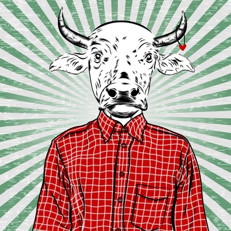 dressed: Hand Drawn Fashion Illustration of dressed up bull, in colors. Vector