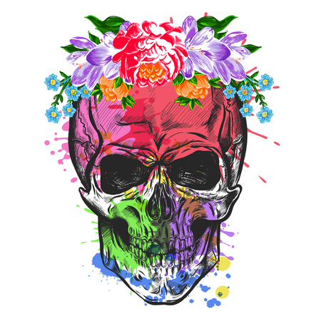 Skull And Flowers. Sketch With Watercolor Effect. Vector