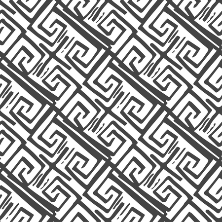 grecian: Seamless monochrome hand drawn pattern on background. Design for paper packaging or wrapping. Vector illustration.